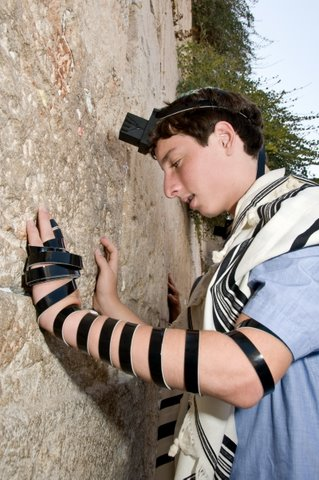 Eitan at the Western Wall before his bar mitzvah